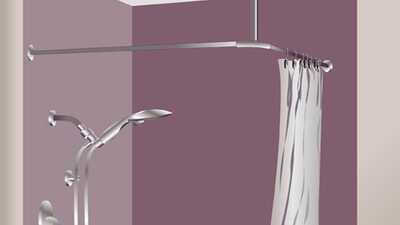 Une barre et des anneaux pour rideau de douche